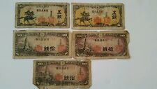 Japan 1944 (2) 5 Sen and (3) 10 Sen Used lot of 5