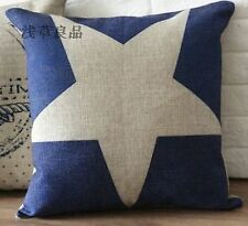 "Vintage ""Blue Star"" designer print cushion cover Decor pillow case 45cm*45cm"