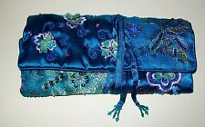 SMALL, VINTAGE DARK TORQUOISE BEADED FOLD-UP (tie-up) PURSE