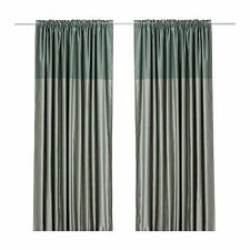 IKEA DAGNY PAIR OF GREEN CURTAINS - NEW