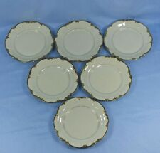 HUTSCHENREUTHER SELB BAVARIA GERMANY 6 RICH GILDED CHINA DESSERT SALAD PLATES