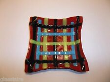 Vintage Art Glass BASKETWEAVE PIN TRAY Ashtray DISH RED Black BLUE Yellow 5.75""