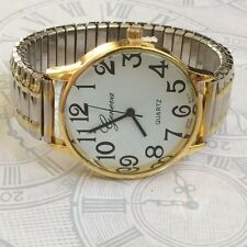 TWO-TONE LARGE FACE GENEVA STRETCH BAND FASHION WATCH EASY TO READ DIAL!