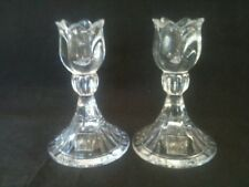 "PAIR MIKASA 5"" TALL LEAD CRYSTAL SPRING RITUAL CANDLE HOLDERS ORIGINAL STICKERS"