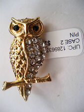 Charter Club Gold Tone Metal Owl Pin Brooch Pave Black Crystals Eyes Macy's New