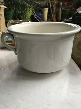 Antique Stone Warranted Pottery Spittoon Vtg Chamber Pot Signed