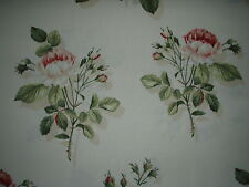 "SANDERSON CURTAIN FABRIC DESIGN ""English Rose"" 4.1 METRES IVORY AND PINK"