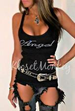 SEXY ANGEL RHINESTONE WINGS BLACK RIBBED KNIT RACER BACK TANK TOP BIKER L