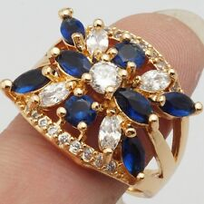 Occasion Marquise Round Cubic Zircon Gold Plated Lady Jewelry Ring Size 8