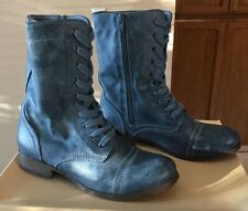 Mossimo Women's Supply Co. Blue Zip Lace Combat Military Fashion Boots Size 7