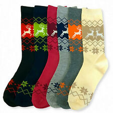 6 Pairs Womens Socks Size 9-11 Elk Reindeer Nordic Crew Length Stocking Bulk Lot