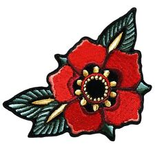 TATTOO FLOWER EMBROIDERED IRON ON 4 inch TATTOO FLOWER PATCH
