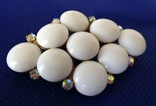Diamond-Shaped Milk Glass Cabachons with Rhinestones - May be Vintage - EUC