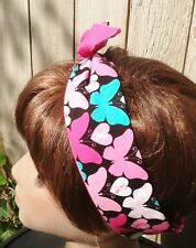Wire Headband Dolly Bow Breast Cancer Awareness  Wired Rockabilly  Bandanna