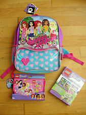 Lego Friends BackPack Bag Wristlet Books Stickers Ice Cream Purse Read Learn Gir