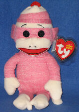 TY SOCKS the PINK SOCK MONKEY BEANIE BABY - MINT with MINT TAGS