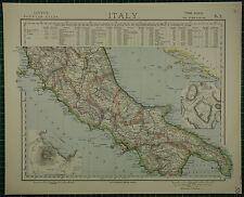 1883 LETTS mappa ~ Italia centrale Napoli INSERTO ANTICA ROMA UMBRIA NAPOLI