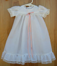Beautiful Christening Gown and Bonnet ~ White with Pink Ribbon