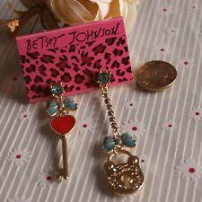 NEW Drip Betsey Johnson Women Cartoon Key Lock Crystal Gem Alloy Earring BJEA078