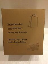 White high-gloss paper bags. 250 count. 10x8x4.75 Retail $240.00 NEW