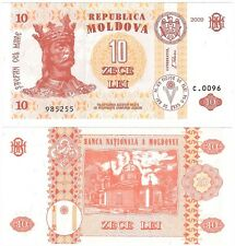 Moldova 10 Lei 2009 P-10f NEW UNC Uncirculated Banknote