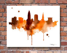 Cleveland Skyline Abstract Watercolor Painting Ohio 11 x 14 Art Print by DJR