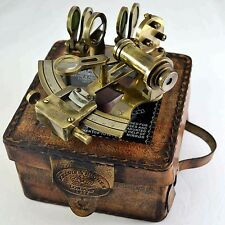 NAUTICAL ANTIQUE MARITIME BRASS SEXTANT WITH LEATHER BOX VINTAGE COLLECTIBLE
