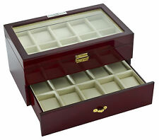 New High Quality Diplomat Cherry Wood 20 Watch Storage Box / Display Case