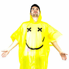 Spinning Hat Rave Poncho Yellow Smily face Funky Rain Party Festivals Gift