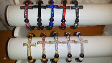 Joblot 30pcs Shamballa Diamante Crucifix cross Bracelets - NEW Wholesale lot A1