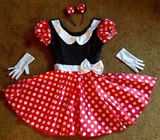 DISNEY MINNIE MOUSE COSTUME DRESS & EARS HEADBAND & GLOVES ADULT WOMENS XS 4 6 8