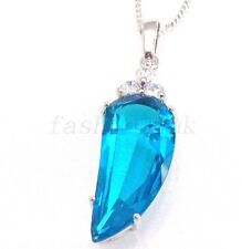 Ladies White Gold Plated Aqua Blue Simulated Diamond Charm Horn Pendant Necklace