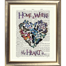 ART PRINT ON ORIGINAL ANTIQUE OLD BOOK PAGE Dictionary Heart HOME Butterfly wall