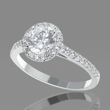 1 Carat Natural Round Halo Diamond Engagement Ring F/SI1 14K White Gold Enhanced