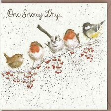 Country Set Christmas Greeting Card Wrendale Designs One Snowy Day Garden Birds