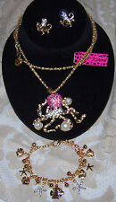 BETSEY JOHNSON 3 PC SET AB CRYSTALS & PEARL OCTOPUS NECKLACE EARRINGS BRACELET