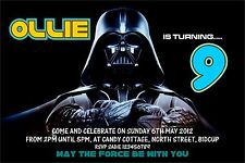 Personalised Birthday Invitations Star Wars Darth Vadar x 5