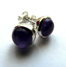 **BEAUTIFUL 925 SOLID SILVER ROUND CABOCHON AMETHYST STUD EARRINGS**