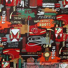 BonEful Fabric FQ Cotton Quilt Brown Boot Hike Camp Boy Scout Rope Tent Cowboy S