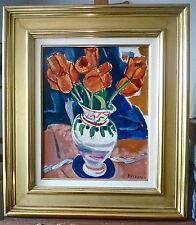 """François DESNOYER (1894-1972): huile """"Tulipes dans vase"""", 41x32cm, signée,cadre"""