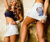 SeXy Miss Glamour Hüft Jeans Rock retro Look 34 36 38 40 NEU altweiß