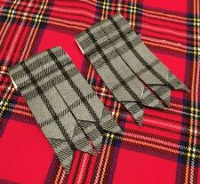 Men's Kilt Sock Flashes Hamilton Grey Tartan/Kilt  Hose Flashes/kilt Flashes
