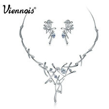 Viennois Wedding Jewelry Set White Swarovski Crystal Cross Necklace Earrings