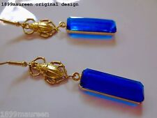 Egyptian Revival Art Deco earrings vintage drop 1920s Art Nouveau blue earrings