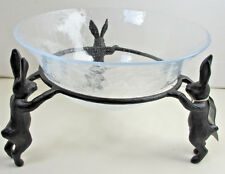 Pottery Barn Bronze Sculpted Bunny Rabbit Serve Bowl ~ Easter ~ NIB ~ Sold Out!
