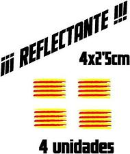 (1090) 4 x Vinilo pegatina bandera Catalana REFLECTANTE coches motos casco