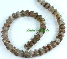 50 Matte-Apollo Gold Czech Baby Bell Flower Flowers Glass Beads 4x6mm