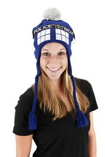Doctor Who Tardis Image Knitted Laplander Beanie Hat LICENSED NEW UNWORN