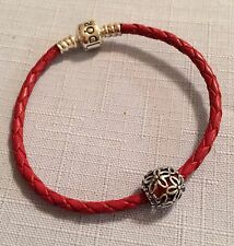 "NEW Authentic PANDORA 7.5""  Red Braided Leather Bracelet & WildFlower Walk Charm"