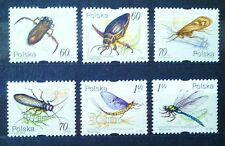 POLAND-STAMPS MNH Fi3632-37 Sc3470-75 Mi378-85 - Aquatic insects, 1999, clean